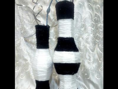 Jarrones hechos de cartón y estambre. DIY. Vases made from cardboard and yarn