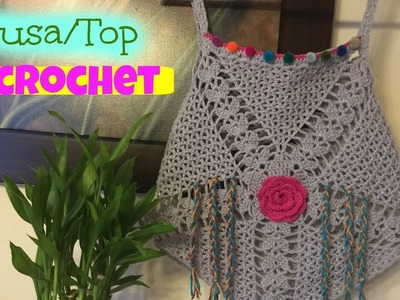 Blusa.Top tejido a Crochet.Ganchillo