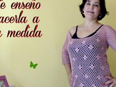 Camiseta de punto de red con margaritas:diy
