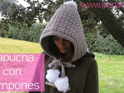 Capucha de pompones de ganchillo. Hood of crochet pompoms.