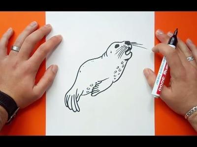 Como dibujar una foca paso a paso 2   How to draw a seal 2