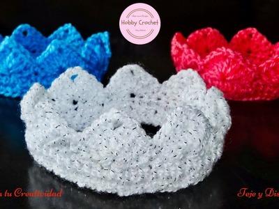 Coronas o tiaras para bebes recien nacidos, a crochet, paso a paso