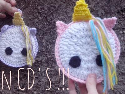 Crochet Unicornio Colgante con cds reciclados - Paso a paso