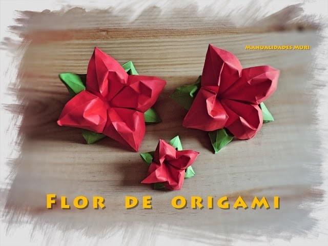 Flor De Origami Con Hojas Paso A Paso