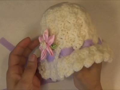 Gorro bonnet para bebes de 0-6 meses a crochet.