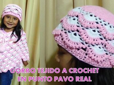 Gorro tejido a crochet para niñas paso a paso tejido en punto pavo real y relieves