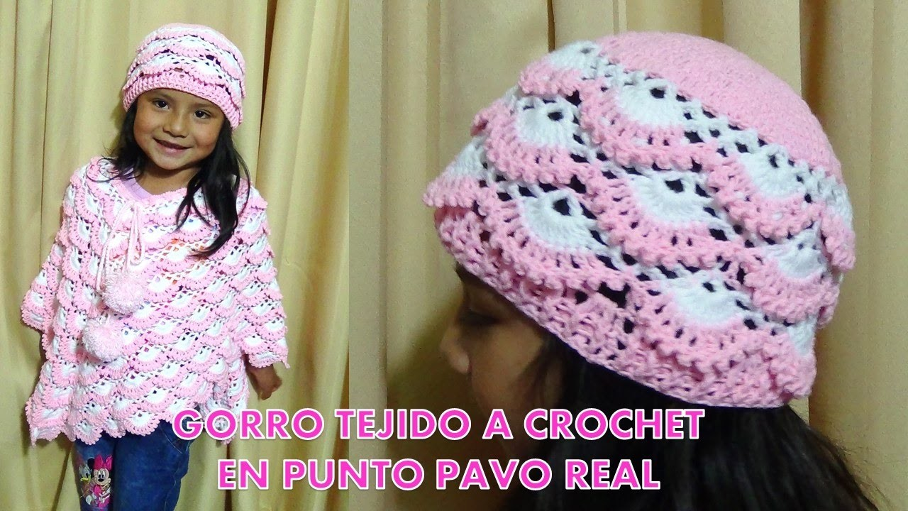 gorro tejido a crochet para ni as paso a paso tejido en. Black Bedroom Furniture Sets. Home Design Ideas