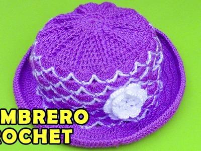 Sombrero con flor para bebé de 5 meses tejido a crochet paso a paso en puntos abanicos