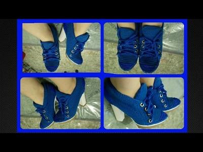 Zapatos tejidos a crochet tipo tenis  zapatilla Parte 3