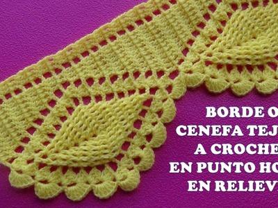 Borde o Cenefa Hojas en Relieves tejido a crochet para Colchas y Cobijas paso a paso