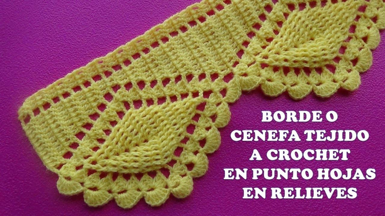 Borde o cenefa hojas en relieves tejido a crochet para - Colchas de crochet paso a paso ...