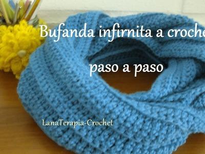 Bufanda infinita a crochet, con punto alto en relieve. LanaTerapia