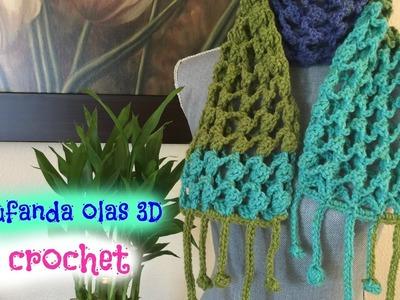 Bufanda Olas 3D a Crochet.Ganchillo