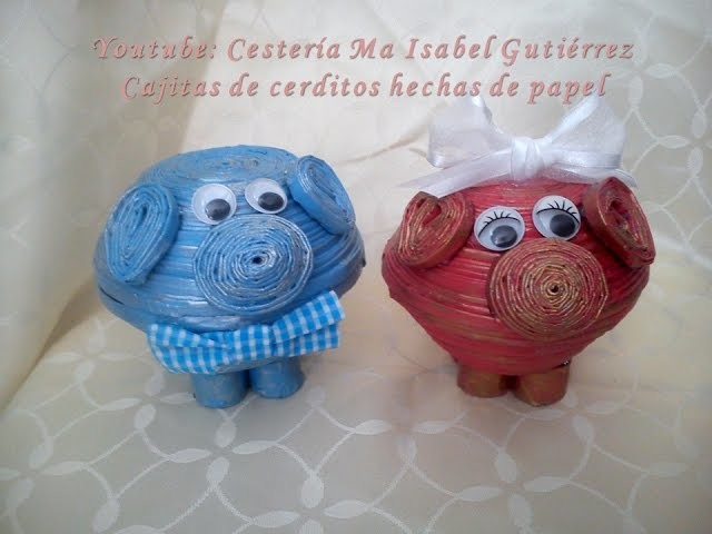 Cajitas de cerditos hechas de papel. DIY. Boxes in the form of pigs made of paper