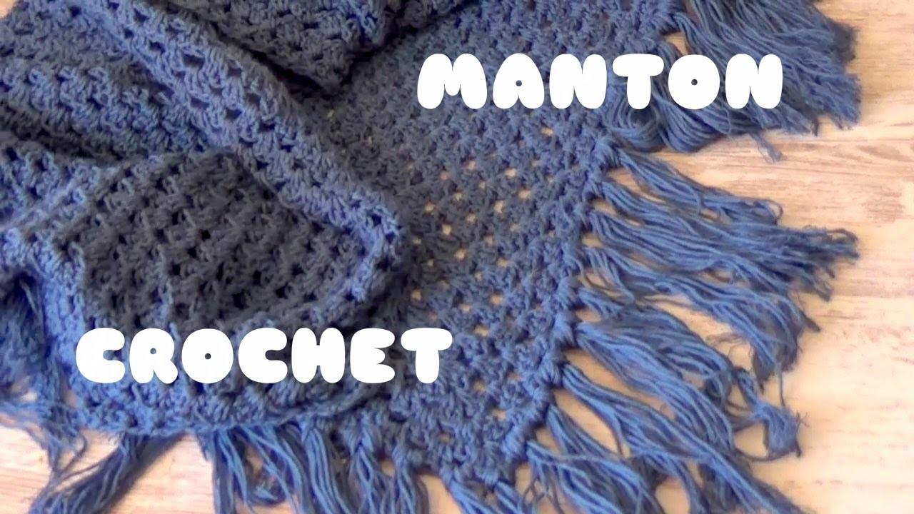 Chal manton triangular de crochet con flecos facil manton - Labores de ganchillo para principiantes ...