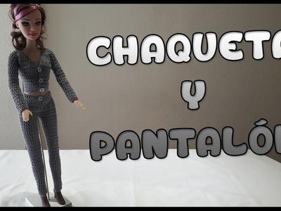 Chaqueta y Pantalón a crochet para Muñeca