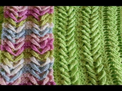Como hacer punto  espiga - trigo  ( V ) Punto Fantasia en crochet - hermoso y elegante knitting