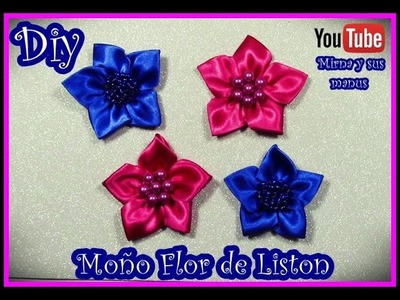 Diy. Moño Flor de Liston Mirna y sus manus. Diy.Easy ribbon flowers
