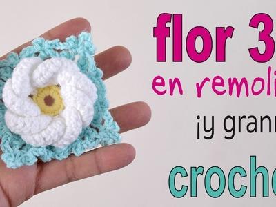 Flor remolino 3D (¡y granny!)  a crochet - Tejiendo Perú