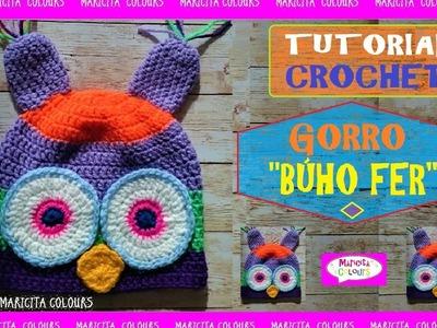 """GORRO A Crochet Ganchillo """"Búho FER"""" por Maricita Colours en Youtube"""