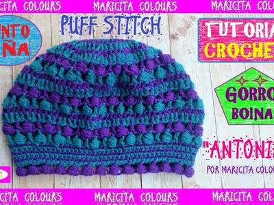 """Gorro Boina a Crochet con Punto Piña """"Antonia"""" Tutorial por Maricita Colours"""
