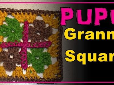 GRANNY SQUARE  PUPU Aprende Cuadradito a Crochet Pattern. Häkeln Muster Lana Wolle