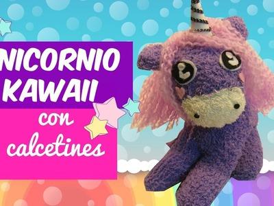 MANUALIDADES FÁCILES CON CALCETINES ♥ QUÉ HACER CUANDO ESTAS ABURRIDO: Unicornio DIY Kawaii ♥