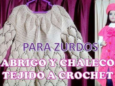 PARA ZURDOS : ABRIGO Y CHALECO tejido a crochet PARTE 1 para niñas de 6 a 9 años paso a paso