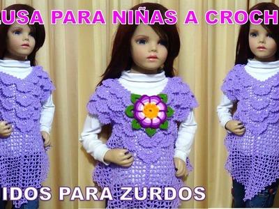 PARA ZURDOS Blusa tejida a crochet para niñas en punto pavo real paso a paso