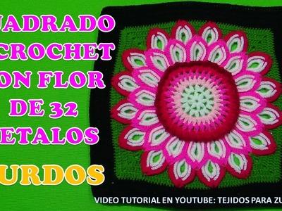 Para ZURDOS Cuadrado tejido a crochet con flor de 32 pétalos paso a paso