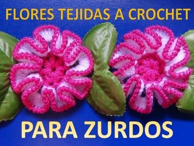 PARA ZURDOS Flor tejida a crochet paso a paso con puntos altos y punto cangrejo