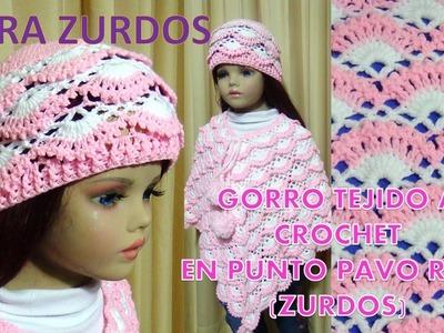 PARA ZURDOS Gorro tejido a crochet para niñas paso a paso tejido en punto pavo real y relieves