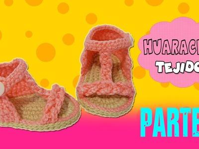 Sandalias Huaraches tejidos a Crochet con trenza    parte 2.2