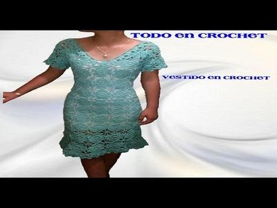 Vestido tejido a  crochet   parte 3 de 3
