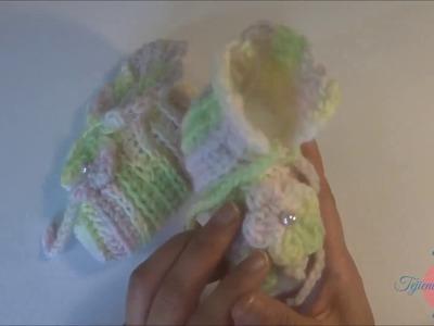 Zapatitos para bebe 6-meses a un año  crochet en punto básico