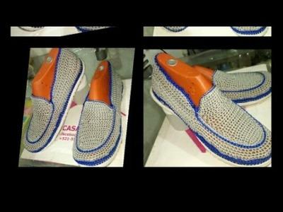 Zapatos tejidos a crochet para caballero, zapatos para hombre tipo mocasines PARTE 1