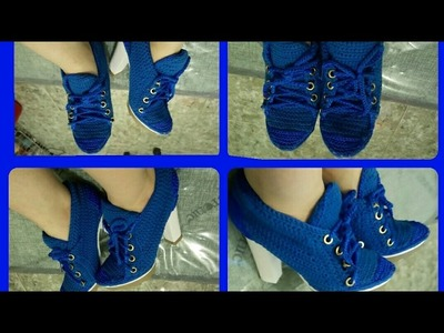 Zapatos tejidos a crochet tipo tenis  zapatilla Parte 2