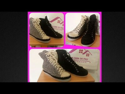 Zapatos tejidos a Crochet, Tipo Converse tejidos Parte 1