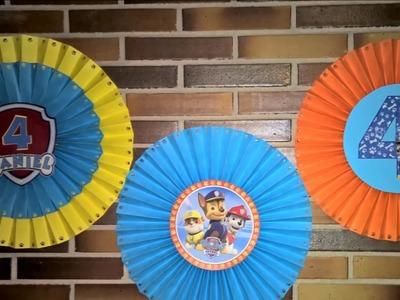 DIY Rosetas grandes para decorar en fiestas infantiles de La Patrulla canina.  Paw Patrol Ornaments