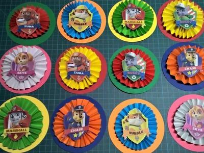 DIY Rosetas pequeñas de La patrulla canina para decorar en fiestas infantiles. Paw Patrol Ornaments