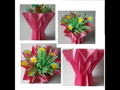 Jarrón de papel. Manualidad para el día de las madres. Artesanato para o Dia das Mães