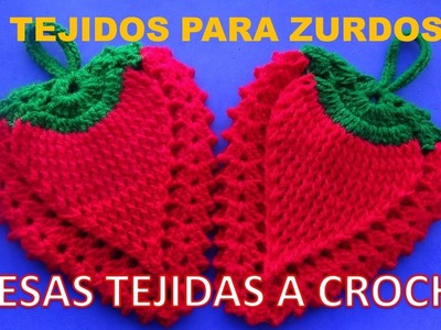 Para ZURDOS:  Fresa tejida a crochet para agarradera de ollas o adorno paso a paso fácil y rápido