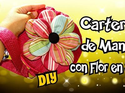 Bolso de mano circular con Flor de Tela en 3D - Cartera DIY