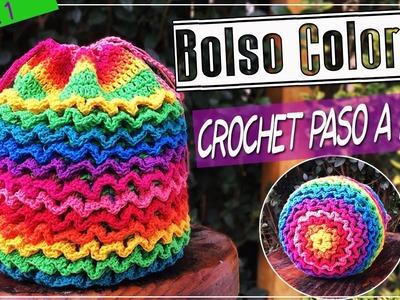 Bolso o Morral Tejido En Crochet - Punto SQUIGGLE Paso a Paso - Parte 1