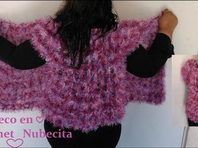 Chaleco abierto en crochet nubecita