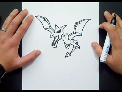 Como dibujar a Aerodactyl paso a paso - Pokemon | How to draw Aerodactyl - Pokemon