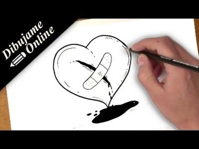 Como dibujar un corazon herido | como dibujar un corazon herido paso a paso