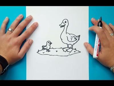 Como dibujar un pato paso a paso 9   How to draw a duck 9