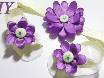 Como Hacer Lazos ????  DIY #68 Pies Descalzos Floral con Cintillo Elastico para Bebes