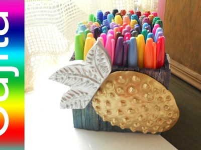 Como hacer Un PORTA COLORES de FRESA How to Make a Colored Pencil Box Shaped Strawberry  Tutorial In